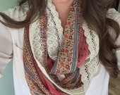 Vintage Floral and Lace Single Layer Infinity Scarf