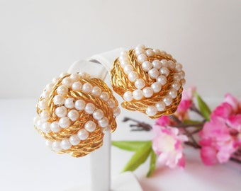 Pearl Earrings Vintage Avon Jewelry Pearl and Gold Earrings Clip On