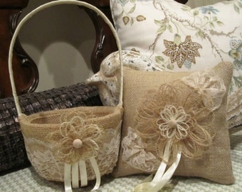 Round  Burlap and Lace Flower Girl Baskt and Ring Bearer Pillow