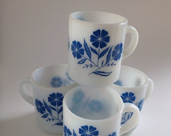 1950 Set of Four Milk Glass Hazel Atlas Mug Coffee Cup Blue Flower