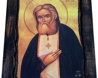 Saint St Seraphim - Of Sarov - Orthodox Byzantine icon on wood handmade (22.5 cm x 17 cm)