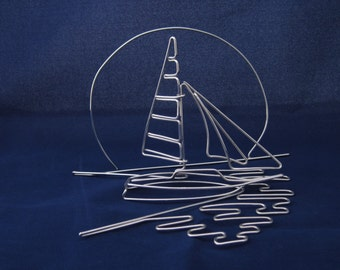 Wire Sailboat Scene