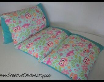 Owl Pillow Bed, Girl Pillow Bed, Owls Pillow bed, Children's Pillow Bed, Pillow Mattress, Sleepover Bed