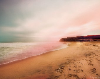 """Beach Photography - beach with pink sunset in Monterey California, ocean, sea, pink and blue, beach wall art, pink decor - """"Adrift in Time"""""""