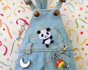 Blythe Pullip Dal Dress Outfit Dark Blue Denim Shorts Overall - Special Edition Panda