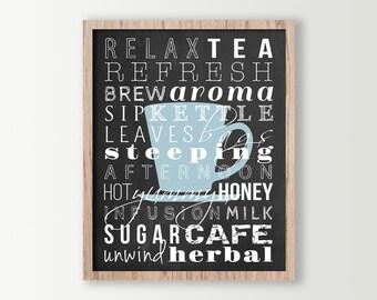 Tea Decor - Kitchen Wall Decor - Tea Prints Subway Art - Tea Sign - Kitchen Signs - Typography Prints - Cup of Tea Wall Art - Tea Art Poster