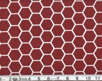 Fabric Honeycomb White on Burgundy White Burgundy Red Hexagon Cotton 1 Yard