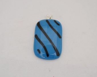 Blue with Black Strip Glass Pendant.