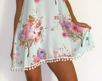 Ladies Swing Dress - Aqua Blossom Print with Pink and White Flower