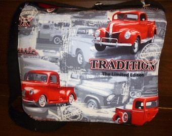 Black messenger bag, American classic truck, adjustable strap, lap top/ipad bag