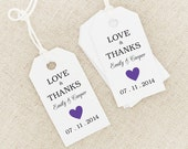 Favor Tag Printable, Text Editable, SMALL Tag Size, INSTANT Digital Download, Gift Tag, Thank You Tag, Wedding Tags, Purple Heart