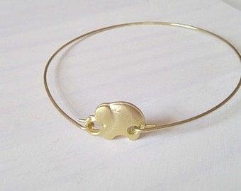 Elephant Bangle Bracelet, Gold Elephant Bangle, Gold Bracelet, Bridesmaid Gifts, British Seller UK, Stacking Bracelet, Gifts for Girls