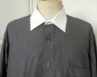 Vintage Pierre Cardin Shirt Gray Pin Stripe White Collar and Cuffs Men Sz XL