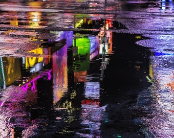 NYC Urban Abstract Photography, Times Square, Night, Puddle, Reflection, Colorful, Purple, Print, Modern Art, New York Photography