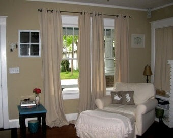 Nautical Beach Drop cloth curtains Curtains. You get a SET = 2 PANELS. Multiple color Grommets Available