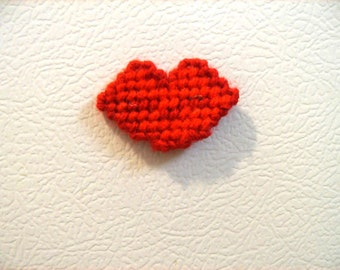 Plastic Canvas Kiss Magnet, Red Valentine Lips, Refrigerator Decor, Fun Magnet, Valentines Gift, Gift for Her, Needlepoint Item, Lip Magnet