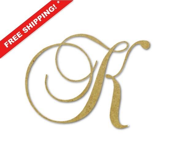 Wooden monogram letter k large or small unfinished by buildeez for Large wooden letter k
