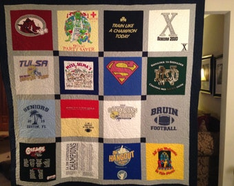 T-shirt Quilt - 16 Blocks - Machine-pieced and Machine Quilted