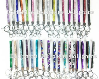 "23 Colors Rhinestone Bling 8"" Wristlet LANYARDs with Key Chain and Clasp for Key / ID badge/ Cell Phone"