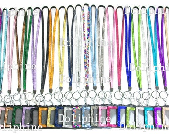 "Bulk 100X Multi-Color Rhinestone Crystal Bling Necklace 18"" drop LANYARDs Key Chain Key Holder with Horizontal ID Badge Holder"