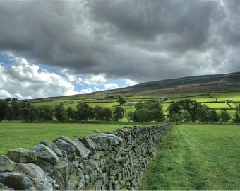 Storm over Yorkshire Dales photo greetings card giclee mounted glossy print