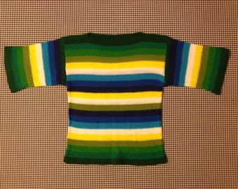 1970's, half, bell sleeve sweater, in greens, blues, yellow and white stripes