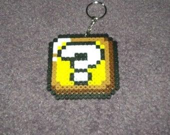 Super Mario Question Block keychained perler sprite