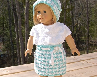 "Crochet Pattern: Houndstooth 18"" Doll Clothes Cloche, Skirt, Shirt / Permission to Sell Finished Items"