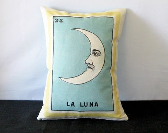 ON SALE: La Luna Vintage Mexican Loteria Pillow Cover circa 1920 - Mexican Day of the Dead, Mexican Style Pillow