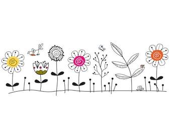 Funky flowers wedding invitation clip art graphics. Instant download.  Original graphic.