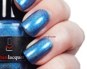 Schlong.  cornflower blue vegan linear holo nail polish.  holographic nail lacquer.  quirky gift for her.  winter color trends.