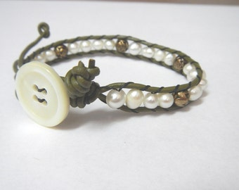 Olive Leather Bracelet with White Pearl and Gold Rose Beads