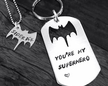 Bat keychain, you're my superhero keychain and necklace set, hand stamped tag, bat cutout, gift for dad and sidekick
