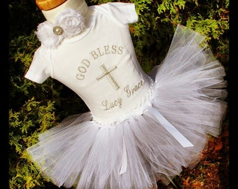 Baby Girl Christening Tutu Outfit personalized embroidered onesie white tutu skirt/ white rosette pearl and rhinestone headband /baptism