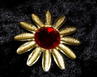 Pretty Red Stone Flower Brooch - 1980s