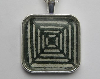 The Maze - glass pendant and chain