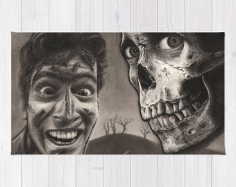 Evil Dead 2 - Ash and Skull | Black & Gray Drawing 2x3 Area Throw Rug