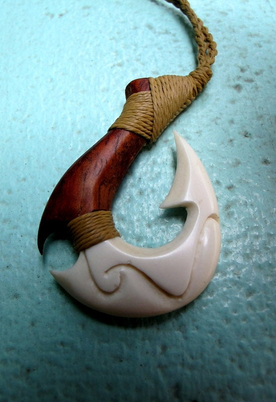 Fish hook necklace composite of koa wood and bone high for Hawaiian fish hook necklace