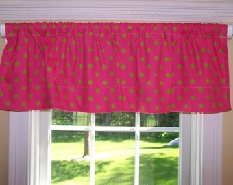 "Premier Prints Fabric Polka Dot Chartreuse Candy Pink & White 52"" Wide x 15"" Long Valance One Curtain Panel"