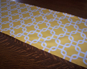 YELLOW TABLE RUNNER - Premier Prints Fabric - Corn Yellow & White - Yellow Links - Nursery - Baby Shower - Birthday Party - Cotton - Kids