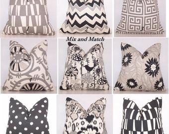 Black and Grey Pillow Cover. Black and Grey Pillow. Decorative Pillow.Couch Pillow.Pillow Cover. Premier Prints. Mix and Match.Lumbar.Euro