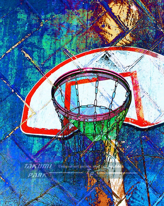 Colorful Basketball Art Unique Artwork Home Decor by