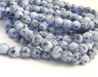 Baby Blue Speckled Bird Eggs ~ 6mm Czech Glass Round Druk Beads (30 Beads)