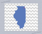 CUSTOM Home is Where the Heart Is - Chevron State Digital Print (Personalize w/ Custom Colors/State/City)