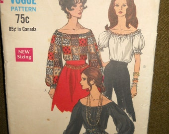 Vintage 70's Gypsy Peasant Blouse Pattern Small