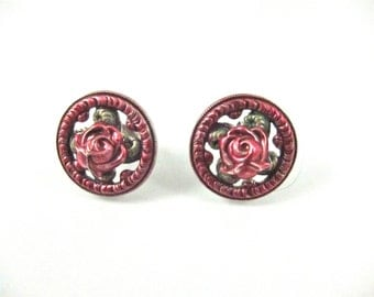 Vintage Catherine Popesco Pink And Green Enamel Floral Post Earrings-Made In France