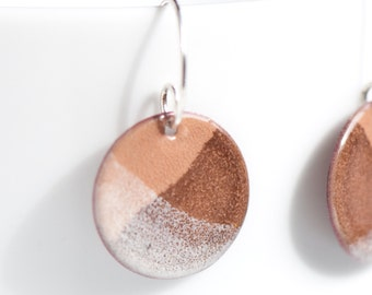 3/4 inch Copper Enamel Earrings in Browns and White Colors, Handmade Sterling Silver Ear Wires, Torch Fired Enamel, Earthy, Dangle
