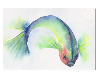 blue fish original watercolor painting size 10.5 x 8.5 in