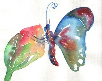 butterfly with flower original watercolor painting size  6.3″ x 5.71″ in
