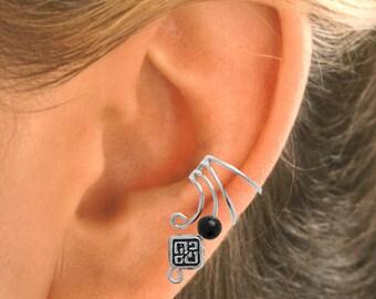 Pewter Celtic Square w Black Onyx Silver Ear Cuff Earrings - PAIR  #1B-PBSQ
